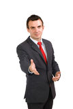 Cheerful businessman ready for handshake. Isolated Stock Image