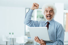 Cheerful businessman receiving good news Royalty Free Stock Photos