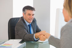 Cheerful businessman shaking the hand of a interviewee Royalty Free Stock Image