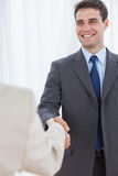 Cheerful businessman shaking hands with his new workmate Stock Photos
