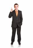 Cheerful businessman show Stock Image