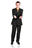Cheerful businessman show empty hands. Isolated Royalty Free Stock Images