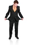 Cheerful businessman show empty pockets. Isolated Stock Photo