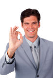 Cheerful businessman showing OK sign Royalty Free Stock Photo