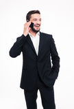 Cheerful businessman talking on the phone Royalty Free Stock Images