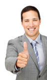 Cheerful businessman with thumb up Stock Photos