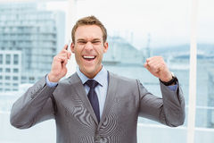 Cheerful businessman using mobile phone Royalty Free Stock Images