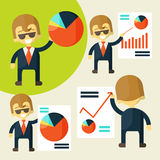 Cheerful businessman in various poses chart shows Royalty Free Stock Image