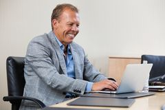 Cheerful businessman working on laptop Royalty Free Stock Images