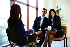 Cheerful businesspeople discussion Royalty Free Stock Images
