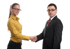 Cheerful businesspeople handshaking Royalty Free Stock Images