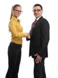 Cheerful businesspeople handshaking Royalty Free Stock Image