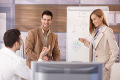 Cheerful businessteam working together smiling Royalty Free Stock Images