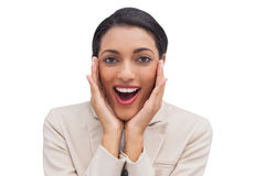 Cheerful businesswoman being surprised Royalty Free Stock Image