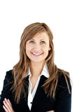 Cheerful businesswoman with folded arms smiling Royalty Free Stock Photo