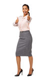 Cheerful Businesswoman Gesturing Thumbs Up Stock Photos