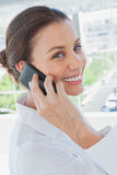 Cheerful businesswoman having a phone conversation Stock Image