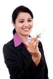 Cheerful businesswoman holding airplane miniature Stock Photography