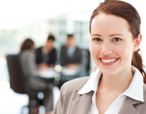 Cheerful businesswoman during a meeting Royalty Free Stock Photo