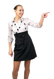 Cheerful businesswoman point Stock Images