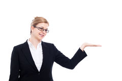 Cheerful businesswoman presentation Royalty Free Stock Image