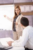 Cheerful businesswoman presenting over board Royalty Free Stock Image