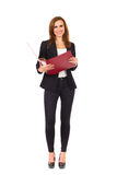 Cheerful businesswoman with ring binder. Royalty Free Stock Image