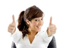 Cheerful businesswoman with thumbs up Royalty Free Stock Photography