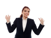Cheerful businesswoman on white Royalty Free Stock Photo