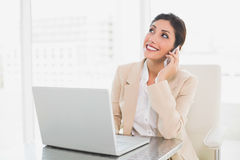 Cheerful businesswoman working with a laptop on the phone Stock Photo