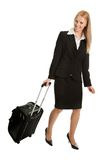 Cheerful businesswomen with travel bag Stock Photography