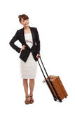 Cheerful businesswomen with travel bag Stock Image