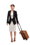 Cheerful businesswomen with travel bag Royalty Free Stock Images