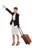 Cheerful businesswomen with travel bag Stock Images