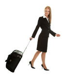Cheerful businesswomen with travel bag Royalty Free Stock Photo