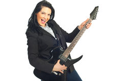 Cheerful busineswoman with guitar Stock Image