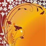 Cheerful butterflies against the stylised sun. Flying butterflies on an orange background with a vegetative ornament Stock Images