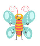 Cheerful butterfly with curled antennae and striped body. Cheerful butterfly with curled antennae, lot of limbs, pattern on wings and striped body isolated stock illustration