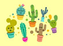 Cheerful Cactus Plant Characters. A collection of bright and happy cactus plant characters in colourful pots. Vector illustration Stock Photos