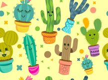 Cheerful Cactus Plants Seamless Pattern. A seamless pattern of cheerful cactus plant characters with smiling faces in colourful pots. Vector illustration Stock Image