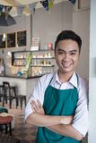 Cheerful cafe owner Royalty Free Stock Photos