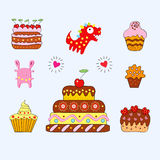 Cheerful Cakes. A illustration. different desserts stock illustration