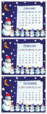 Cheerful calendar of winter months Stock Photography
