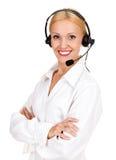 Cheerful call center operator Stock Photos