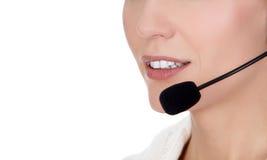 Cheerful call center operator Stock Image