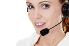 Cheerful call center operator Stock Photos