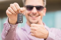 Cheerful car owner concept. royalty free stock images