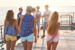 Cheerful and carefree group of friends hanging out at the sunny summer seaside on their vacation. Cheerful and carefree group of friends both girls and guys royalty free stock photos