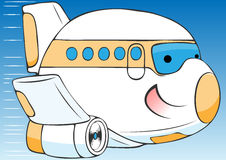 Cheerful cartoon airplane Stock Photos