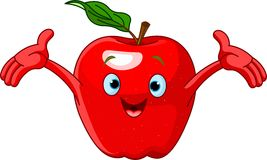 Cheerful Cartoon Apple character Royalty Free Stock Photography